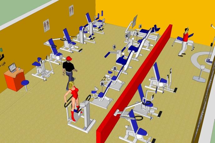 Модель зала с пневматическими тренажерами EN-Dynamic Enraf Nonius